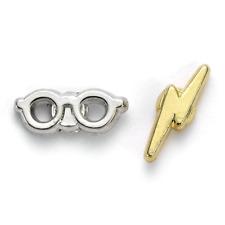 Harry Potter Silver Plated Earrings Lightning Bolt & Glasses   OFFICIAL