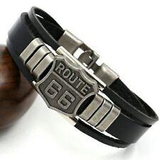 "Friendship Route 66 Motorcycle Biker Rider Harley Black Leather Bracelet 8"""