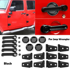 Black Exterior Door & Handle Decor Cover Trim Accessories For Jeep Wrangler Jk
