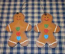 2~Cute Gingerbread Man decor ornament Heart shaped buttons