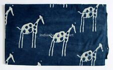 2.5 Yard Indian Hand Block Print Fabric 100% Cotton Running Indigo Blue Paisley