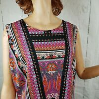 Womens ILE New York Pink Orange Black Paisley Sleeveless Shift Dress Size 14