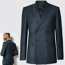 M&S LUXURY Pure WOOL Double Breasted JACKET ~ Size 38 Short ~ BLUE (rrp £85)