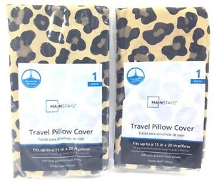 """2 Mainstays Travel Pillow Cover Cheetah Fits Up To 15"""" x 20"""" Zipper Closure New"""