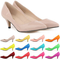 Womens Sexy Low Mid Kitten Heels Shoes PU Patent Leather Pointed Toe Pump Sz 2-9