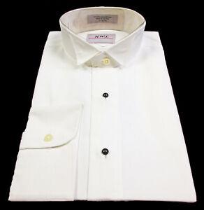 New Men's Ivory Wing Collar Tuxedo Dress Shirt Formal Off-White L 16-16.5 34/35