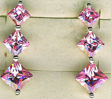 "925 Sterling Silver Pink Cubic Zirconia 3 Stone Stud Drop Earrings Lgth 1.1/8"""