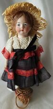 """Antique 6&1/2"""" All-Bisque German Articulated Doll w/Incised Eyes & Ribbed Socks"""