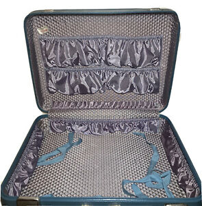 VTG Suitcase Jet Flite Hard Shell Blue Luggage Original Key Womens Retro Case