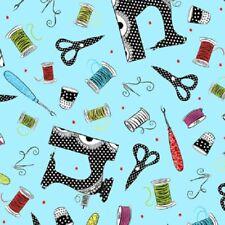 SEW SASSY Fabric- Scissors, Thread, Thimbles, Needles Tossed on Blue Background