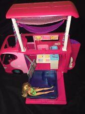 BARBIE SISTERS GO CAMPING Pop Up Pink Camper RV Van 2010 Mattel With Pool Doll
