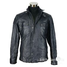 Mens leather jacket Padded Bomber Gents Soft Crush Distress Motorbike Brooklands