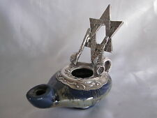 Judaica Sterling Pottery Oil Lamp