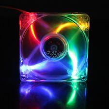 2pcs 92mm X 25mm DC 12V 3/4Pin Colorful LED PC Cooling Exhaust Transparent Fan