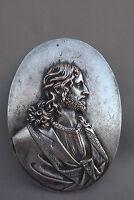 French Antique Religious Reliquary Jesus Christ Plaque Medallion Signed 19th.C