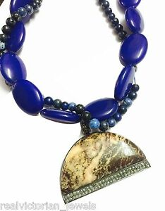 Handcrafted Diamond ,Picture Jasper  & Lapis Beads 925 Sterling Silver Necklace