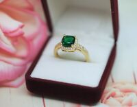 Vintage Jewellery Gold Ring Emerald White Sapphires Antique Deco Jewelry 9 R