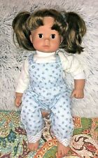 "Gotz-Puppen Germany Girl 16"" Doll Brown Hair Brown Eyes Blue Outfit Shoes"