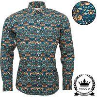 Relco Mens Blue Floral Long Sleeve Shirt Button Down Collar Mod Retro NEW