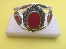 Red Coral Heart Sterling Silver Cuff Bracelet - Healing - Protection Travel Calm