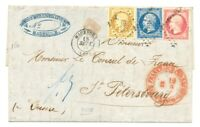 FRANCE 1861 LETTER -TRI COLORE - TO ST. PETERSBURG-RUSSIA EXTRA FINE