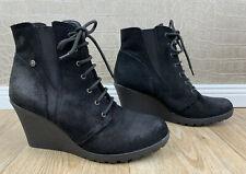 EDC ESPRIT Damen Gr. 40 Wedges Boots Wildleder Stiefel Velours Stiefeletten Q4