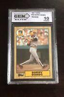 1987 TOPPS BARRY BONDS 320 ERROR ROOKIE Pirates Baseball Card Graded 10 GEM MINT