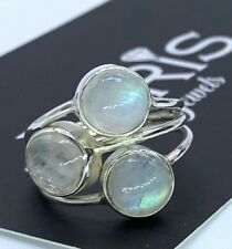 Gorgeous 925 Sterling Silver Ladies Moonstone Gemstone Designer Ring Multi Stone