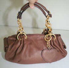 Juicy Couture Brown Leather Gold Interior Hobo Shoulder Bag Purse