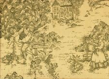 """French Country Toile Document Green 16"""" Square Ruffled Decorative Pillow Cotton"""