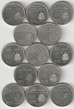 13 DIFFERENT 10 CENT COINS from ARUBA with CONSECUTIVE DATES of 1998 to 2010