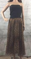 Andrea Behar Strapless Dress Size 2 Sheer Leopard Cheetah Maxi Skirt Sexy Style