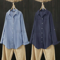 ZANZEA Womens Blouse Casual Loose Long Sleeve Denim Pocket Tops Shirts Plus Size