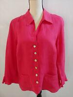 Talbots Sz 14 Light Red Irish Linen Jacket Collar Button Flounce Lightweight
