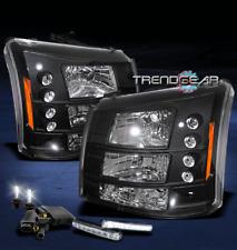 2003-2006 CHEVY SILVERADO AVALANCHE LED BLACK CRYSTAL HEAD LIGHT LAMP+DRL+6K HID