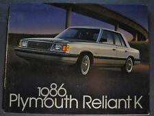 1986 Plymouth Reliant K Catalog Sales Brochure Nice Original 86