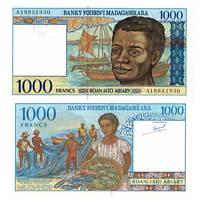 Pick 76b Madagaskar  / Madagascar 1000 Francs 1994  Unc. / 4618925vvv