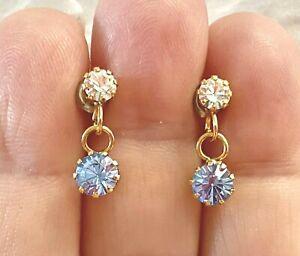 Fashion, Gold Tone, Clear and Blue Rhinestones Pierced Earrings Set.