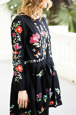 NWT ZARA GENUINE BLACK DRESS EMBROIDERED FLORAL L/30 BLOGGERS RED WHITE TUNIC