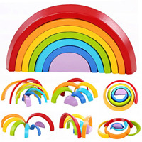 Lewo Wooden Rainbow Stacking Game Learning Toy Geometry Building Blocks Toys for