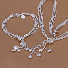 beautiful Fashion Silver heart party Bracelet Necklace set jewelry wedding gift