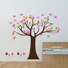 Colourful Owl Tree Birds Wall art Stickers Nursery Decal Kids Baby Room Decor