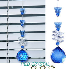 Blue Butterfly Crystal Suncatcher Ball Prism Hanging Drop Pendant Feng Shui 30MM
