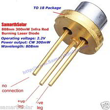 Burning Laser Diode 808nm 300mW Generic Infrared High Power TO18 5.6mm 2.2 V