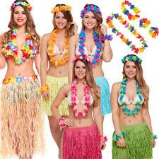 Larga señoras 40CM Hawaiano Hula Falda /& Sujetador 6 PC Set Lei Disfraz Hula