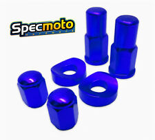 USA SHIP BLUE RIM LOCK NUT VALVE STEM CAP KIT YAMAHA KAWASAKI SUZUKI HONDA KTM