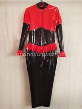 Latex Rubber Skirts Women Lace Sexy Hip Tight Dress Uniform Suit Size XXS-XXL