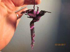 Purple Beaded Hummingbird Ornament hanging fair trade crystals sun catcher bird