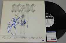 ACDC  BRIAN JOHNSON Hand Signed HUGE SIG  'FLICK OF THE SWITCH' LP+ PSA DNA COA