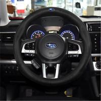 38CM Car Steering Wheel Cover For Subaru Black Leather Skidproof Nice